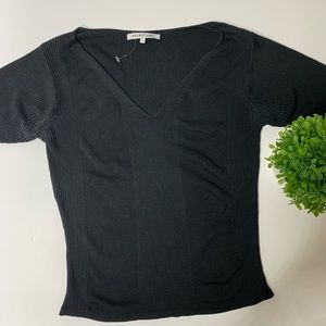 NEW Helmut Lang black ribbed short sleeve tee